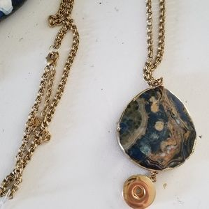 Jewelry - Large blue/gold Agate custom  gingersnap necklace